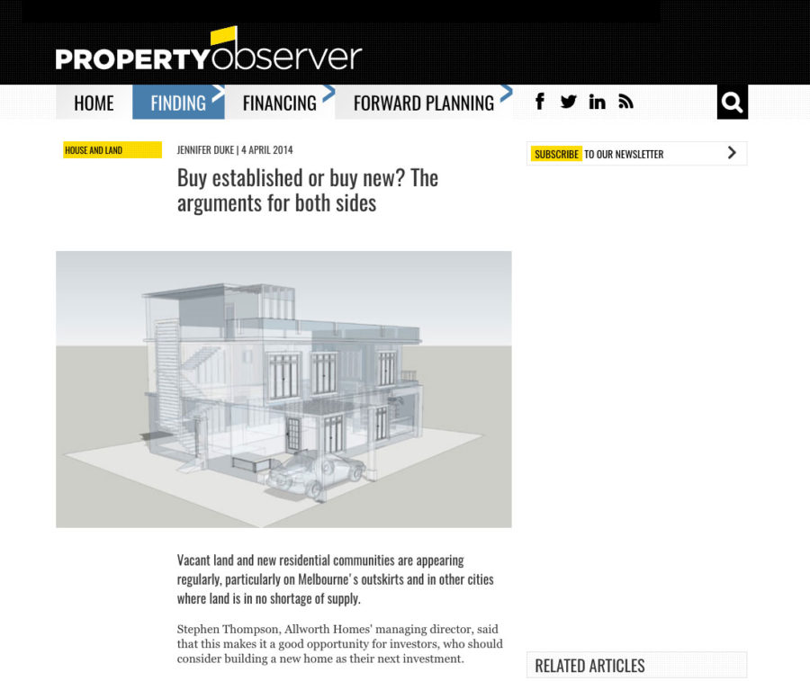 Allworth Homes in Property Observer