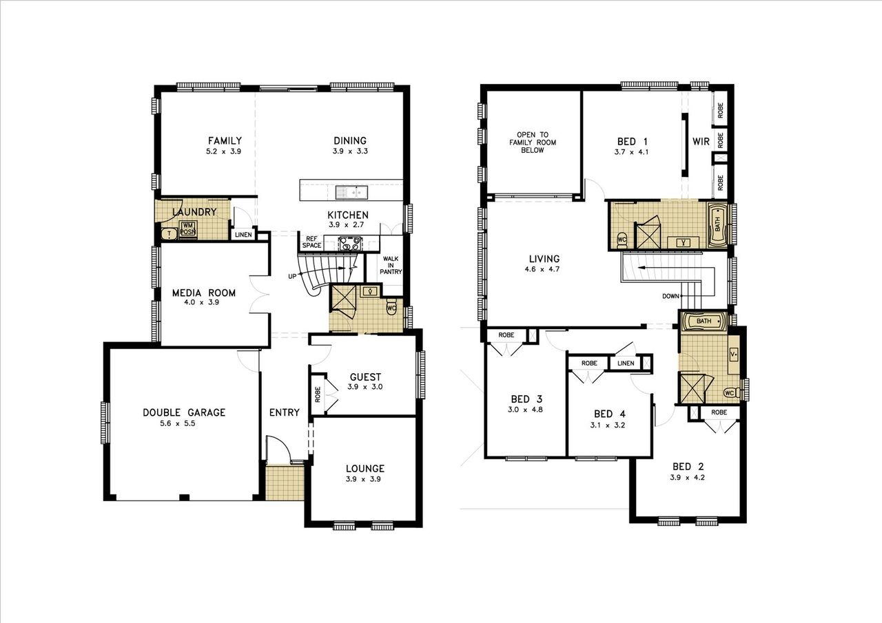 2 Story Simple Floor Plans With 4 Bedroom And Dimensions