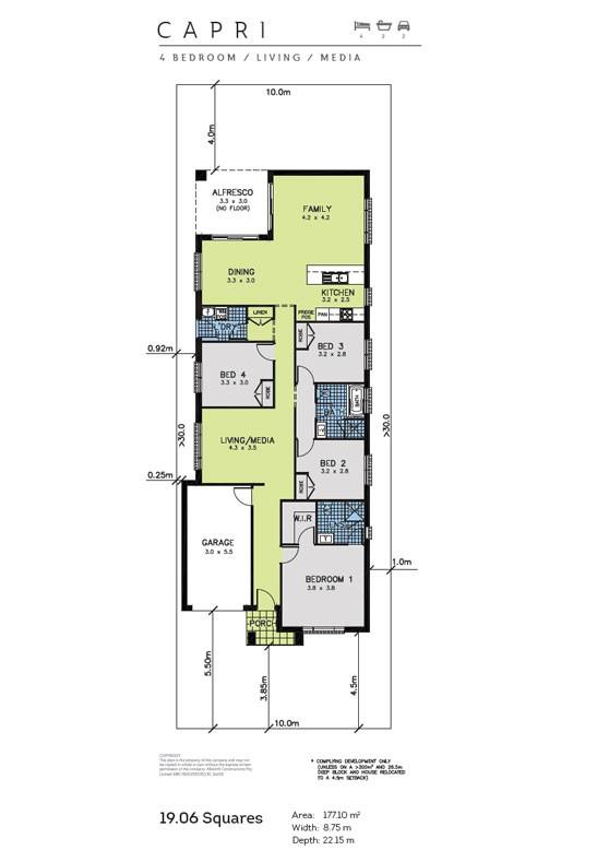 Capri allworth homes capri single storey to suit 10m for 10m wide home designs