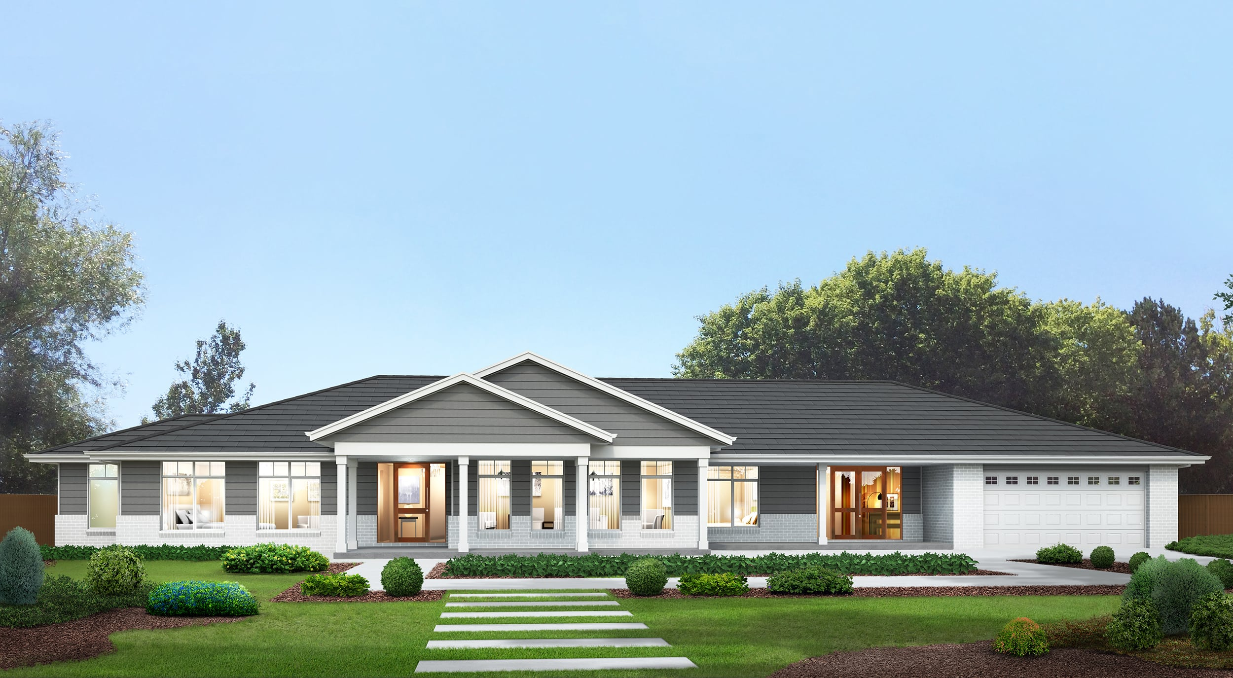 Hamptons facade shown with 24° tiled roof pitch and right-hand garage